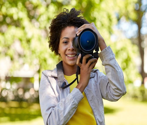 Student with camera